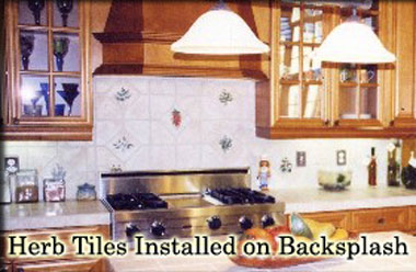 Herbs Installed on Backsplash